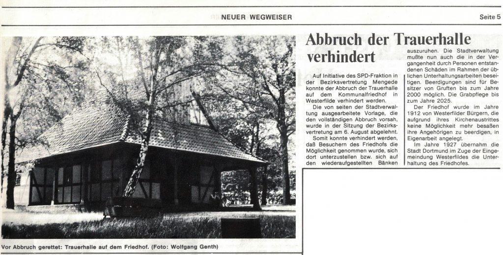 Trauerhalle auf dem Kommunalfriedhof Dortmund Westerfilde